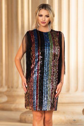 Rochie de seara din tul cu paiete multicolore midi dreapta cu decolteu rotund si franjuri la umeri