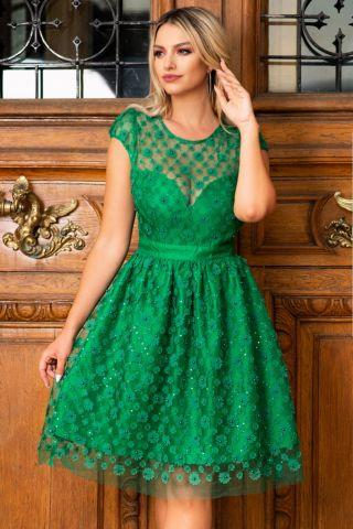 Rochie de ocazie baby doll verde smarald