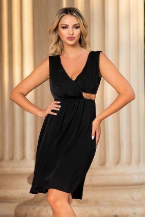Rochie MBG eleganta din voal negru cu strasuri aurii in talie