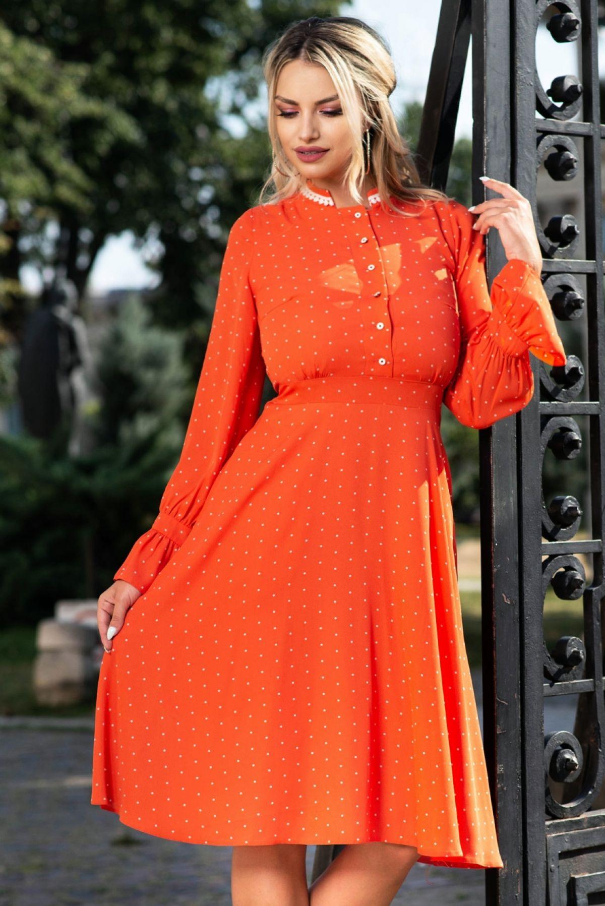 Rochie portocalie cu buline Moze Moze