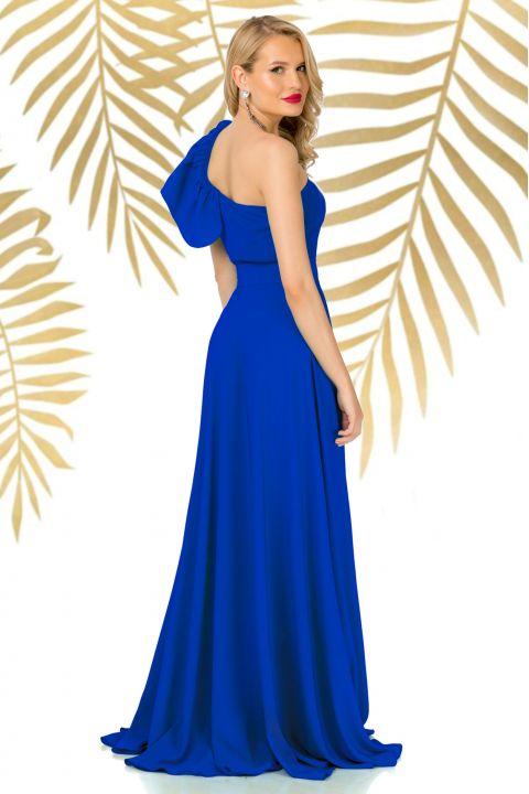 Fusta Pretty Girl lunga eleganta albastra cu despicatura pe picior
