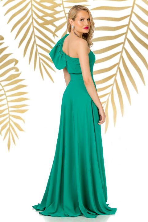 Fusta Pretty Girl lunga eleganta verde cu despicatura pe picior