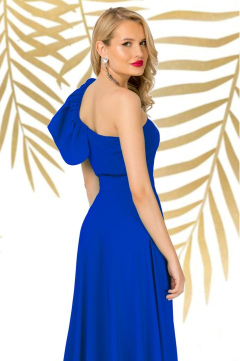 Bluza eleganta Pretty Girl albastra cu volanas la umar
