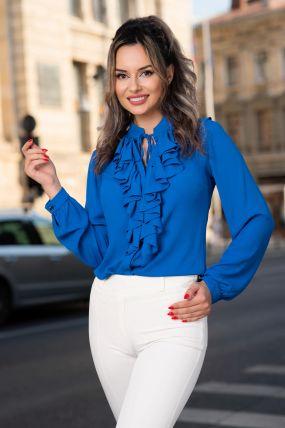 Bluza Effect albastra din voal cu jabou