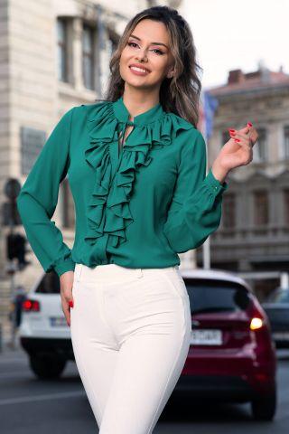 Bluza Effect verde din voal cu jabou