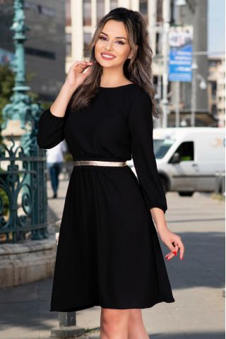 Rochie de zi neagra in clos cu curea detasabila aurie