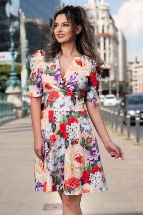 Rochie de zi bej cu imprimeu floral si maneca usor bufanta