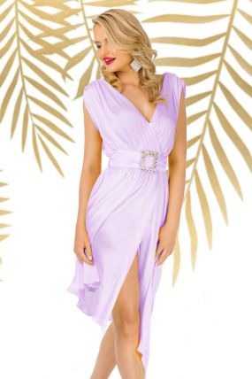Rochie Pretty Girl de seara lavanda asimetrica cu cordon detasabil