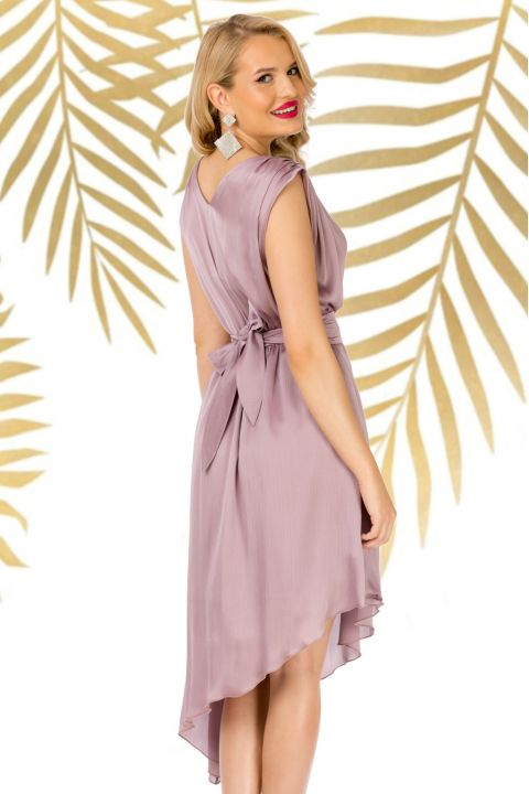 Rochie Pretty Girl de seara lila asimetrica cu cordon detasabil