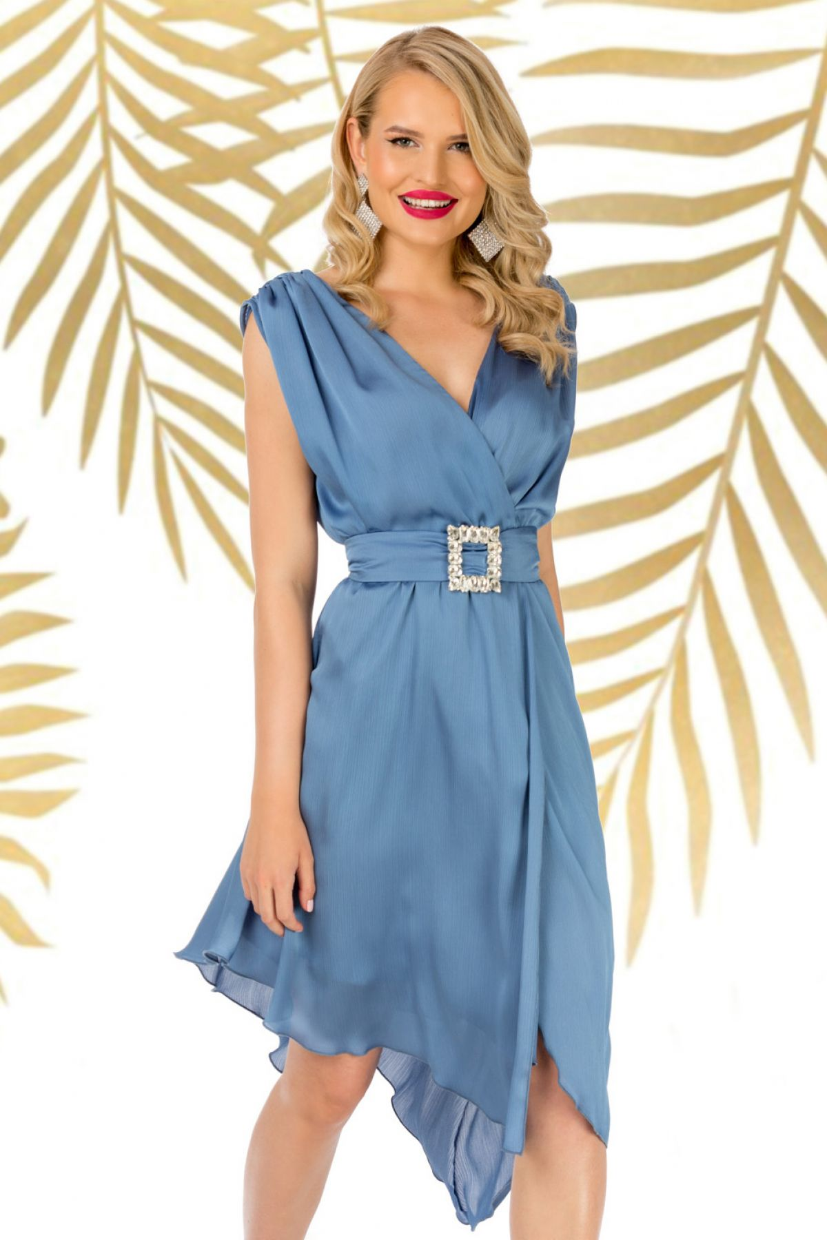 Rochie Pretty Girl de seara bleu asimetrica cu cordon detasabil Pretty-Girl