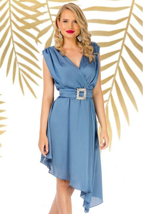 Rochie Pretty Girl de seara bleu asimetrica cu cordon detasabil