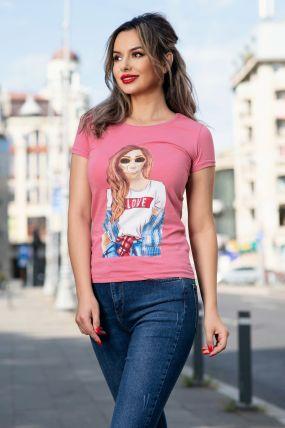 Tricou casual roz cu imprimeu trendy
