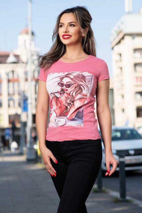 Tricou casual roz cu imprimeu coffe time