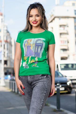 Tricou casual verde cu imprimeu fashion