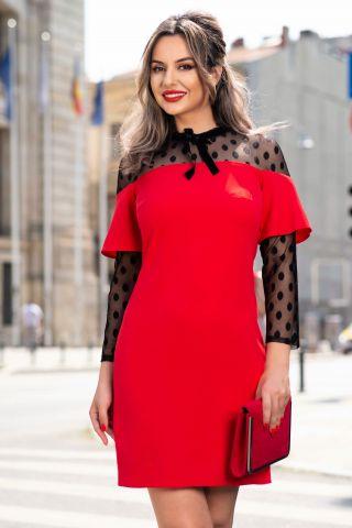 Rochie Moze rosie cu aplicatii din tull cu buline