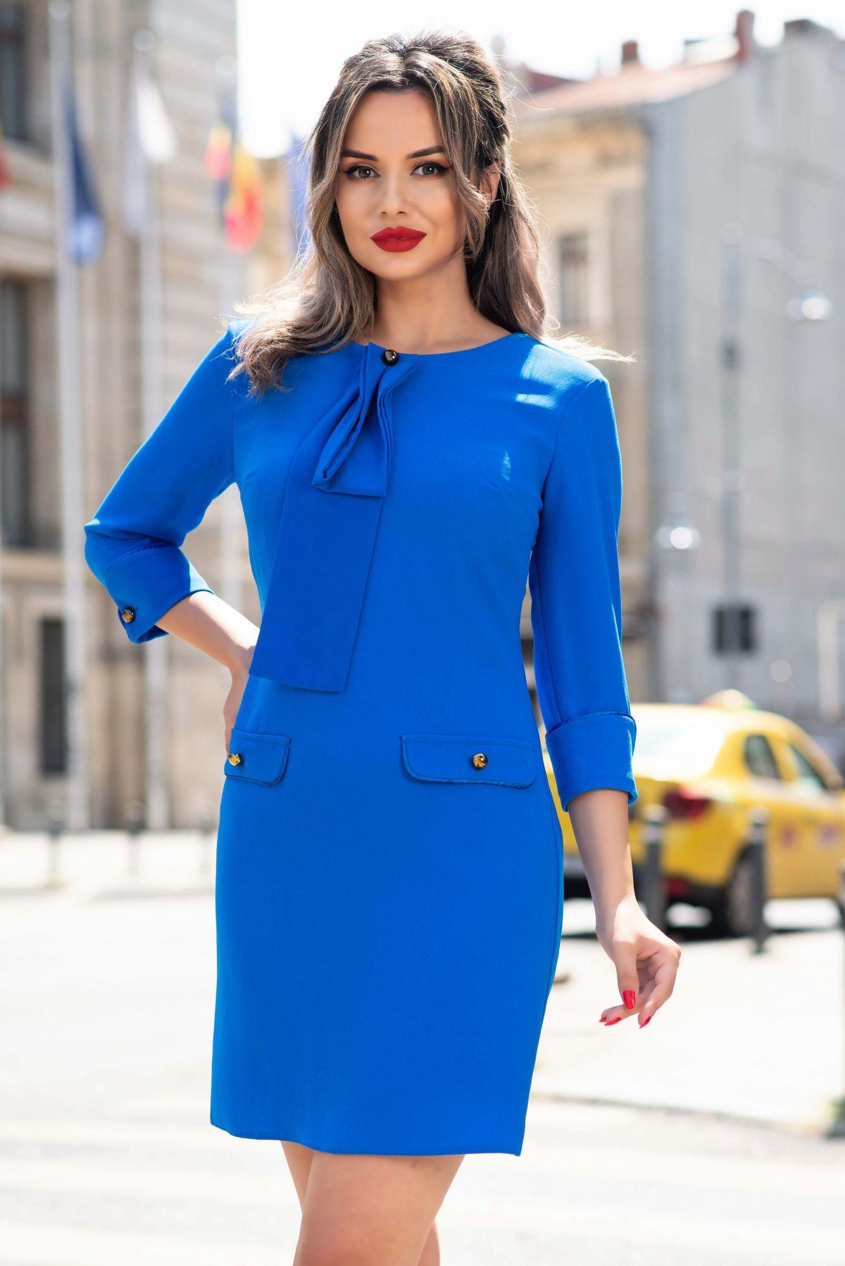 Rochie Pretty Girl office albastra cu esarfa Pretty-Girl