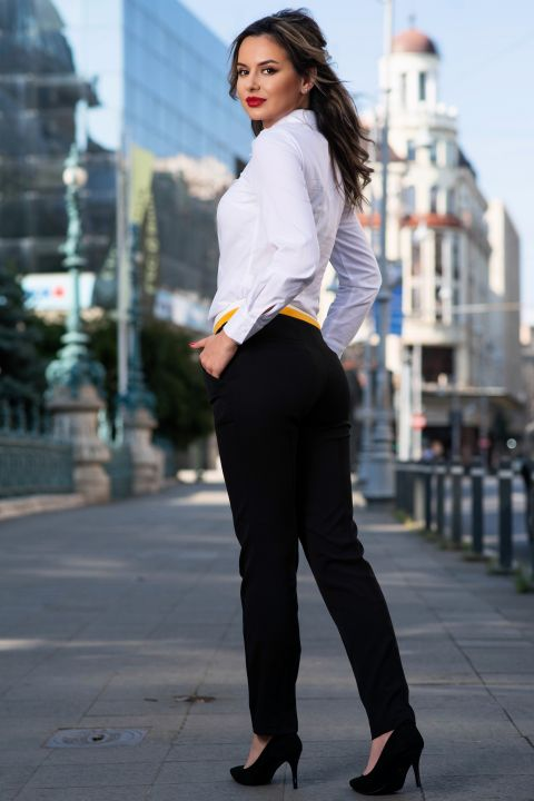 Pantaloni office MBG cu banda colorata in talie