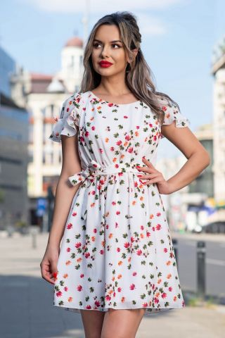 Rochie de zi alba cu imprimeu frunze colorate din figuri geometrice