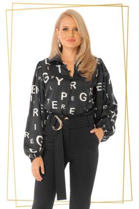 Bluza Pretty Girl eleganta neagra cu print litere