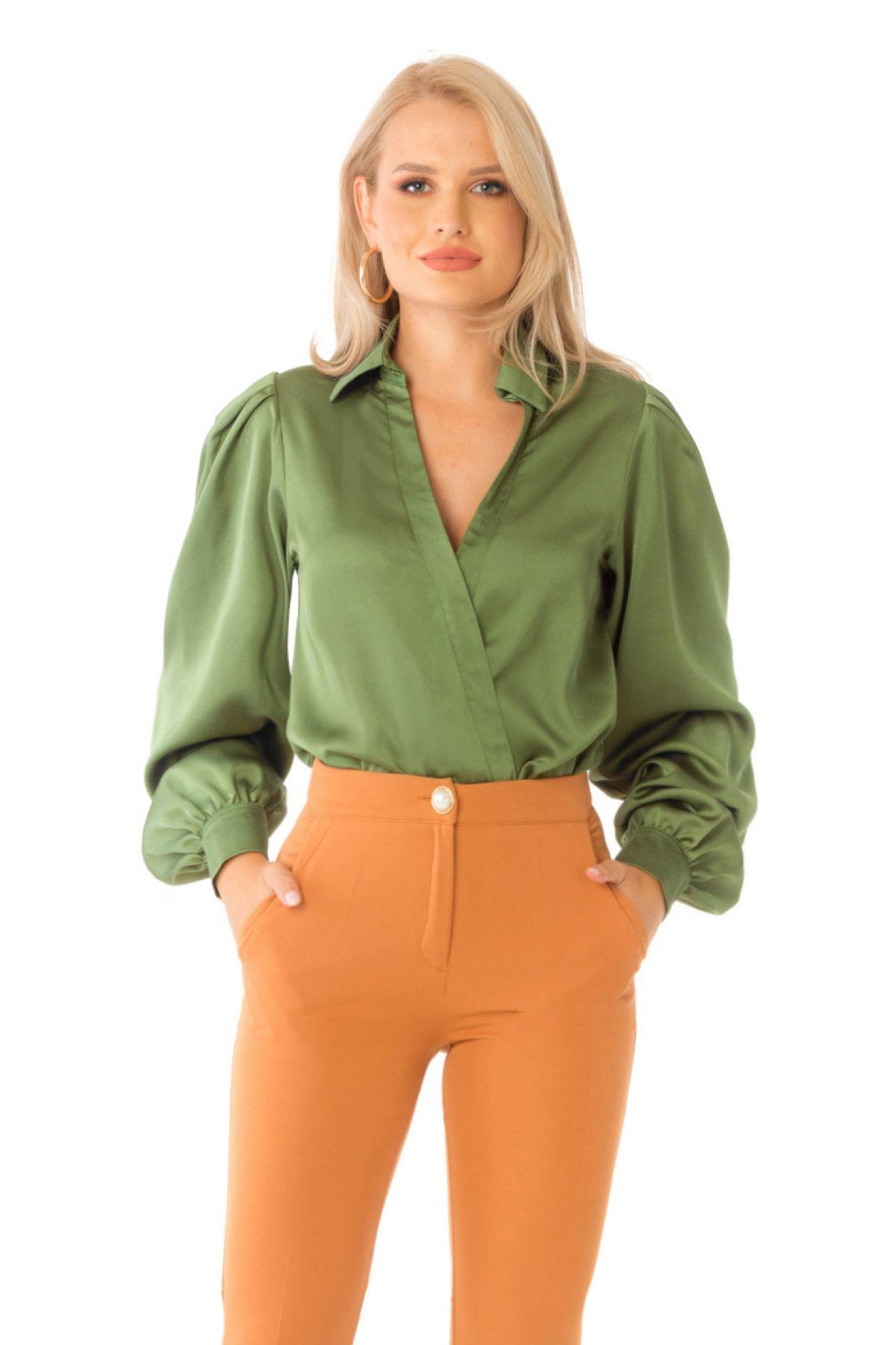 Body Pretty Girl elegant verde cu maneci bufante