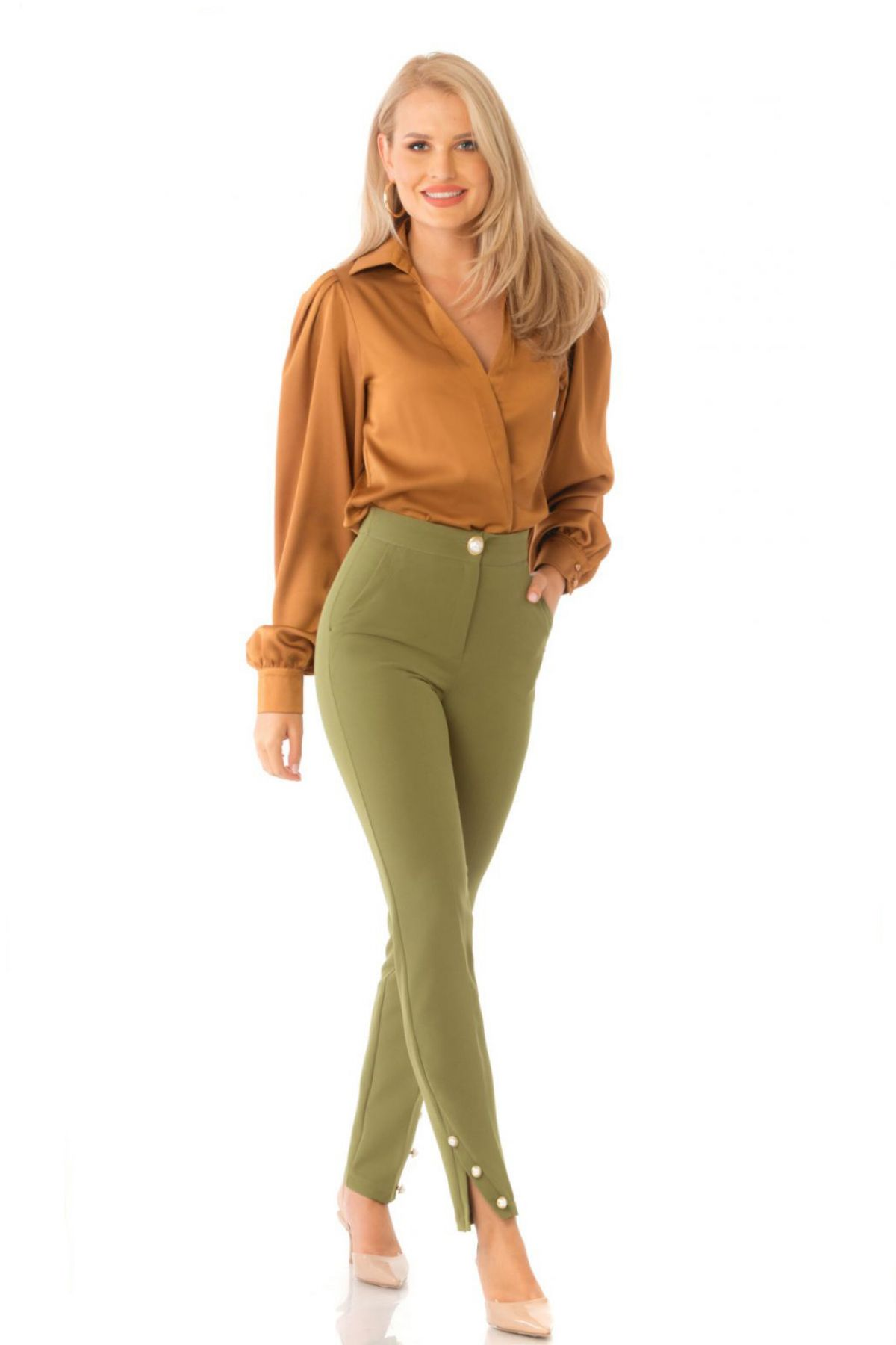 Pantaloni Pretty Girl office kaki cu nasturi tip perla aurii