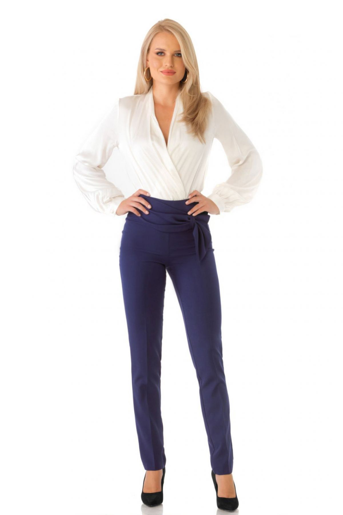 Pantaloni Pretty Girl eleganti bleumarin cu funda stilizata