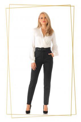 Pantaloni Pretty Girl office negri cu accesoriu curea