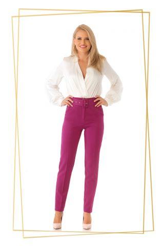 Pantaloni Pretty Girl office magenta cu accesoriu curea