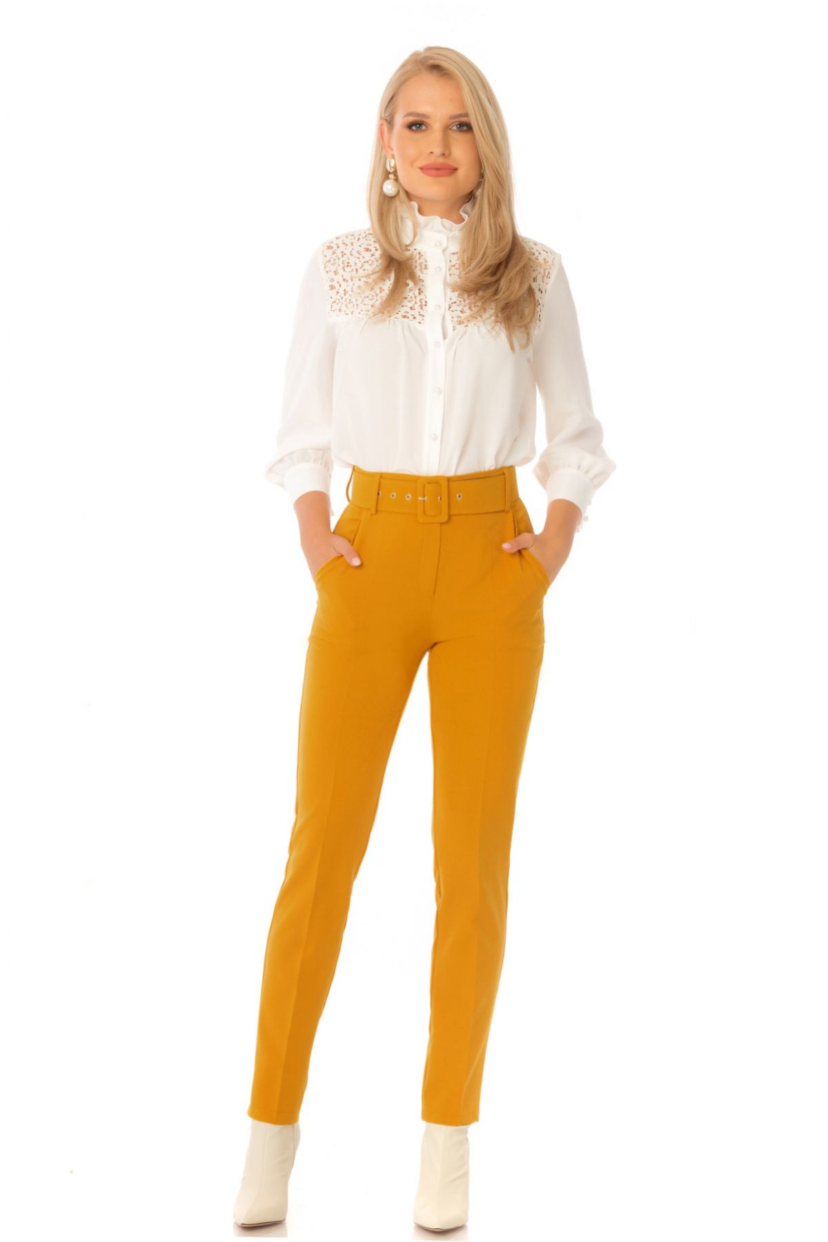 Pantaloni Pretty Girl office mustar cu accesoriu curea