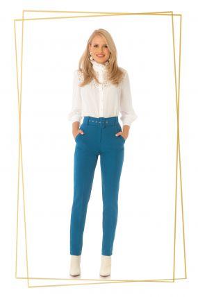 Pantaloni Pretty Girl office turquoise cu accesoriu curea