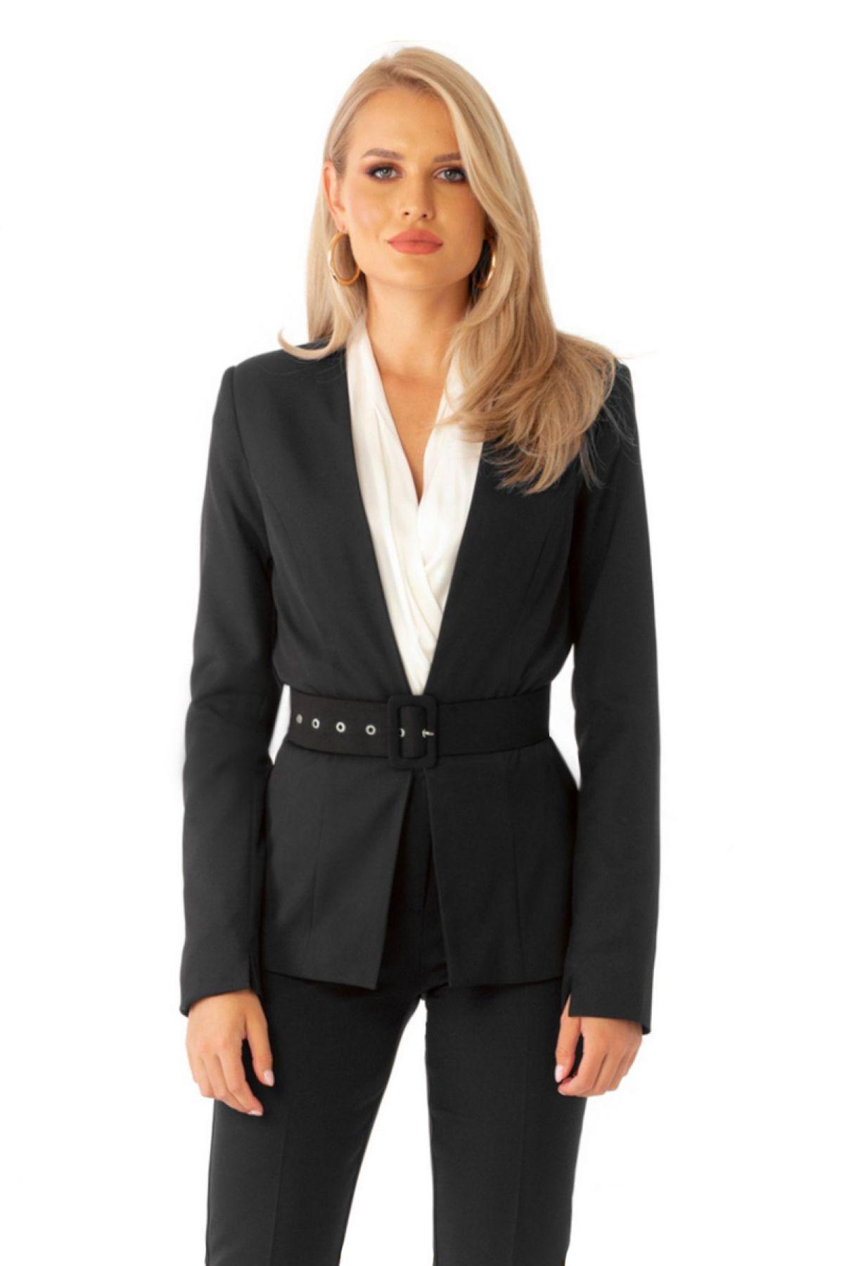 Sacou office Pretty Girl negru cu accesoriu curea