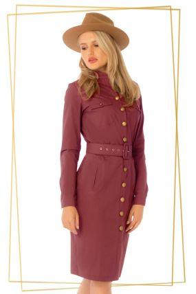 Rochie Pretty Girl burgundy din bumbac cu nasturi aramii