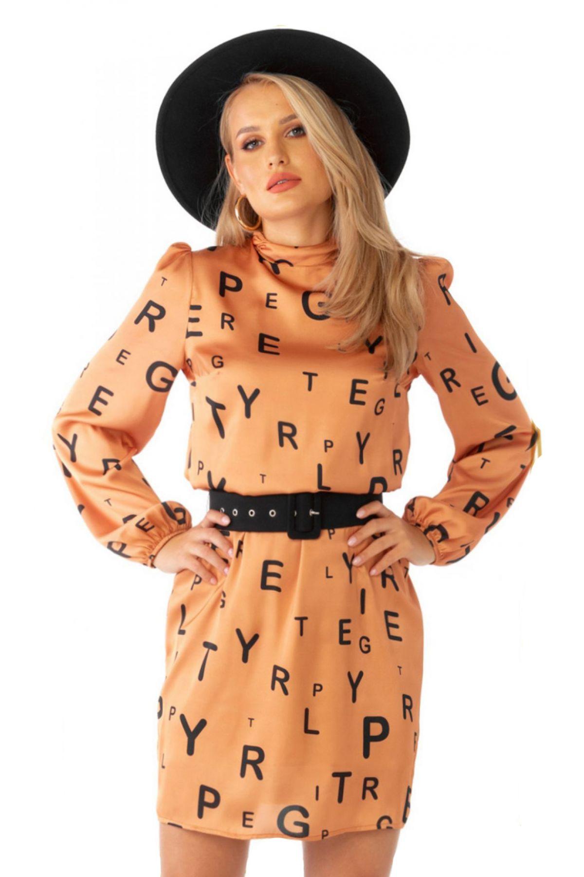 Rochie de zi Pretty Girl caramizie cu imprimeu litere