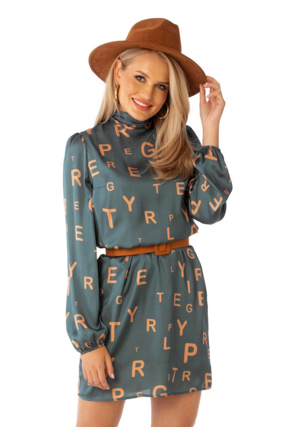 Rochie de zi Pretty Girl grej cu imprimeu litere