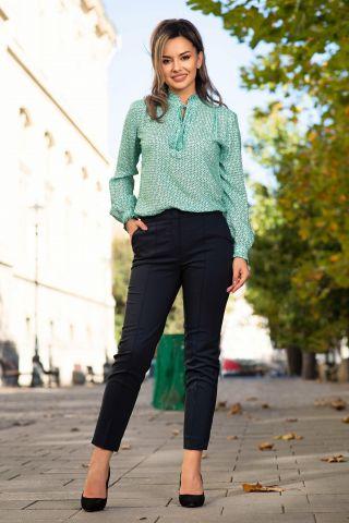 Pantaloni office bleumarin drepti cu narvura si buzunare laterale