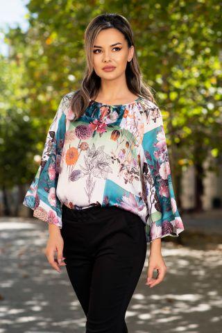 Bluza Effect din satin ecru cu print floral multicolor
