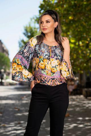 Bluza Effect din satin cu print trandafiri galbeni