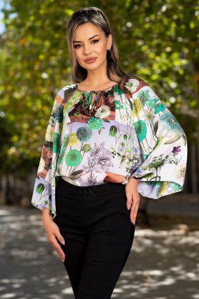 Bluza Effect din satin verde cu print floral multicolor