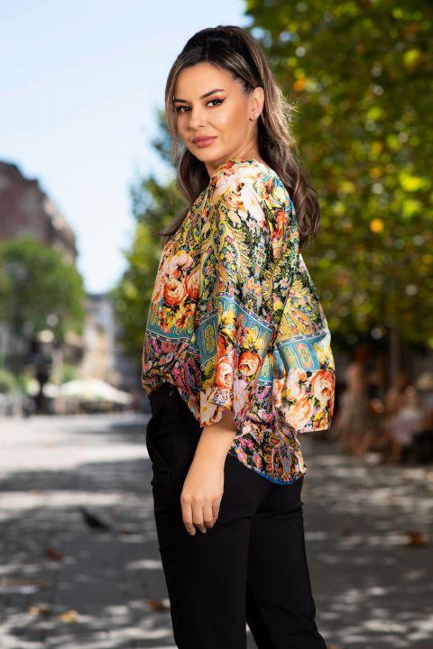 Bluza Effect din satin cu imprimeu flori orange