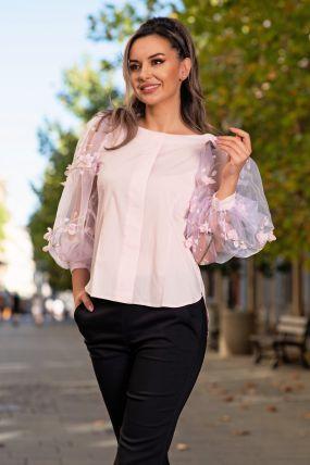 Bluza Effect roz din bumbac cu maneci bufante si flori 3D