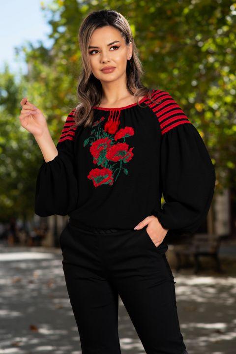 Bluza Effect neagra din vascoza cu broderie florala rosie si maneci bufante