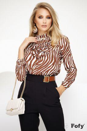 Bluza Fofy eleganta cu jabou si imprimeu zebra