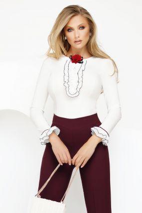 Camasa Fofy eleganta cu jabou si brosa tip floare