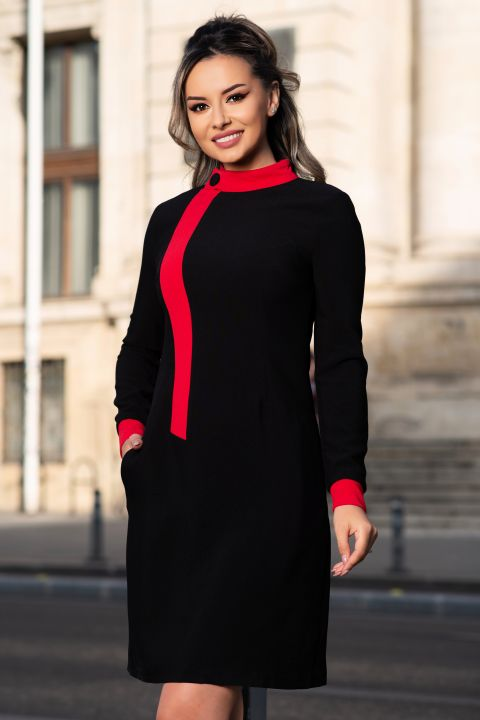 Rochie MBG office neagra cu guler si mansete rosii