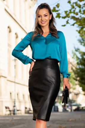 Bluza eleganta turquoise inchis din voal texturat