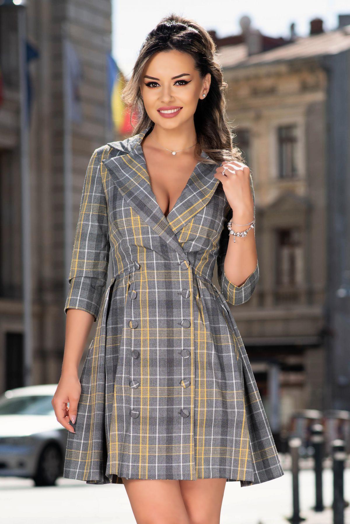 Rochie MBG eleganta tip sacou cu print geometric si nasturi imbracati MBG-Collection