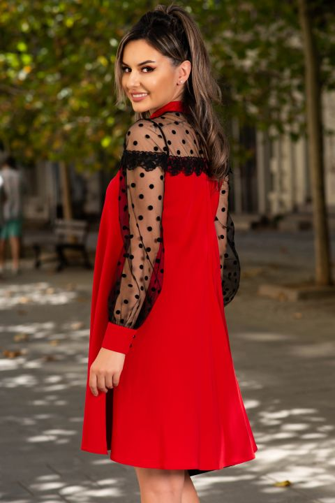 Rochie MBG de ocazie rosie cu maneci din tul si dantela aplicata