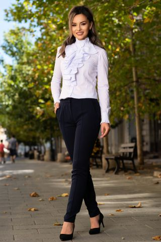 Pantaloni MBG bleumarin office cu nervura si buzunare laterale