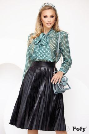 Bluza Fofy verde cu fir din lurex si imprimeu geometric