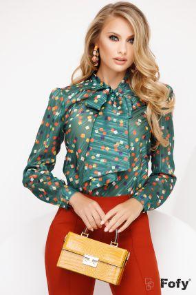 Bluza Fofy verde cu funda maxi si imprimeu patratele colorate